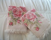 pair of vintage pink / pink roses bath towels, pink and green scrolls, cannon 100 percent cotton,  shabby cottage chic, fringed terry cloth