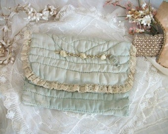 vintage ribbon work hankie keeper, softly faded sea foam green, antique cream lace netting & embellishments, chic timeworn tattered elegance