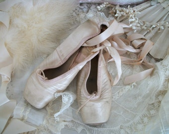 LAYAWAY vintage satin ballet pointe toe shoes, well worn, shabby faded aged pink color, timeworn, capezio dance, satin ribbons, chic color