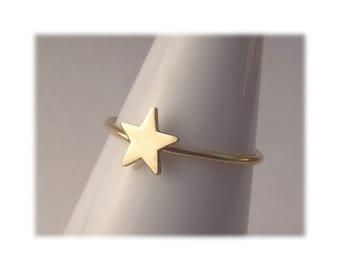 14k Gold Star Ring, Celestial Gold Ring, 14k Gold Stack Ring