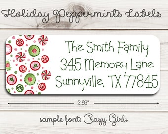 Holiday Peppermints Return Address Labels
