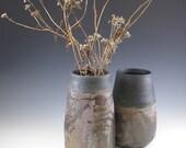 Raku Vase, raku bottle, Primitive Pottery,  Black Pottery, Black pottery vase,  Black Vase, Art Pot, Rustic  Weed Vase, Primitive bottle