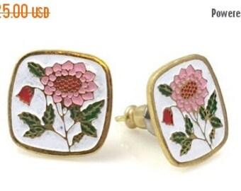 ON SALE Peony Earrings, Pink Peony Earrings, Flower Earrings, Post Earrings,Vintage Peony Pink Floral earrings