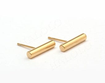 Bar Cylindrical  Stick Stainless Steel Golden Stud Earring Post Finding (EH004C)