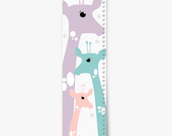 Growth Chart, Giraffe Growth Chart, Purple Giraffe Growth Chart, Custom Growth Chart, Custom Pink Growth Chart, Canvas Growth Chart
