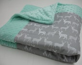 Meadow Deer White on Gray Minky Comforter Blanket You Choose Size and Minky Color MADE TO ORDER