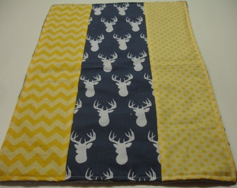 Navy Deer Head with Yellow Receiving Blanket with Minky 13 x 19 READY TO SHIP