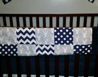 Gray Deer Head with Navy Chevron and Dots  3 Piece Baby Crib Bedding Set MADE TO ORDER Free Shipping