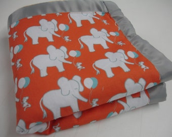 Let's Be Friends Elephant and Mouse Orange  Aqua and Gray Satin Trimmed Minky Lovey 15 X 16 READY TO SHIP