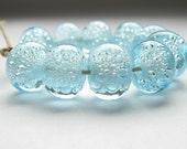 10 light aqua blue bubble lampwork handmade artisan glass pairs earring transparent