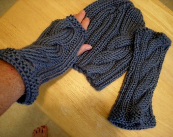 Womens hat and glove set, cable hat and gloves, hat set, hand knit, fingerless gloves, Knit hat,
