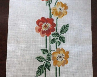 NEEDLEPOINT finished - yellow and coral flowers - use for project