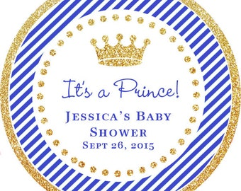It's a Prince! Gold Glitter Blue Royal Prince  Baby Shower Thank You PERSONALIZED Stickers, Tags, Labels, or Cupcake Toppers, various sizes,