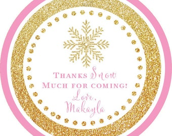 Winter Wonderland Gold Glitter Snowflake Thank You PERSONALIZED Stickers, Tags, Labels, or Cupcake Toppers, various sizes, printed & shipped