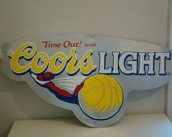 Vintage Coors Light Sign Vintage Basketball Sign Vintage Sports Sign Bar Decor Man Cave Decor Vintage Metal Sign Time Out Sign Beer Sign