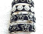Bejeweled barrette, black hair barrette, white sparkly barrette, hair clip, ponytail holder, floral barrette, womens accessory