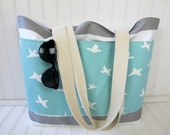 Birds Beach Bag - Striped Beach Bag - Waterproof Beach Bag - Gray Nautical Striped Beach Bag