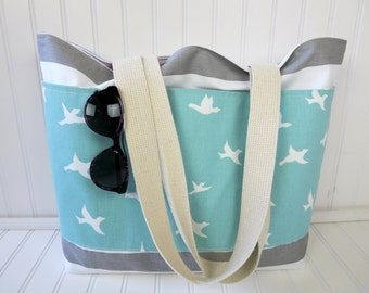 Birds Beach Bag - Striped Beach Bag - Waterproof Beach Bag - Gray Nautical Striped Beach Bag