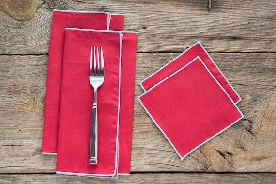 Red Linen with Aqua Edge, Cloth Napkins and Coasters, 100% linen