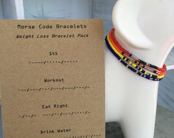 "Morse Code ""Weight Loss Bundle"" Stretchy Bracelet"