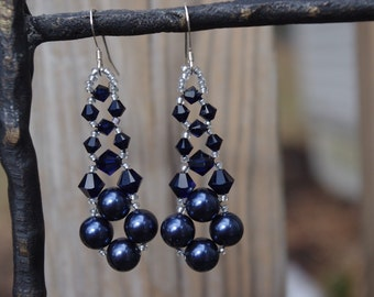 Dark Blue Swarovski Elements Pearl and Crystal Chandelier Wedding Bridal Prom Earrings