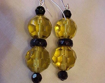 DANGLE EARRINGS w/Faceted, GLASS Beads in Yellow, Black Glass Spacers, and Tiny Black Glass Beads~For Pierced Ears