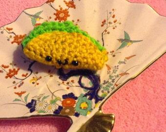 Crochet taco amigurumi keychain