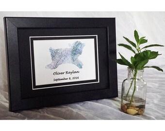 Custom Baby Shower Gift Baptism Gift New Baby Nursery Decor Girl's Room Art 5x7 Art Framed