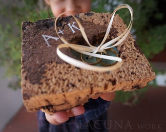Wedding ring bearer Ring Cork  Ring pillow Persoanalized
