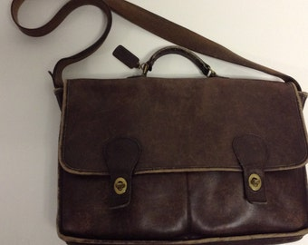 Raw  Distressed Leather Vintage COACH Crossbody Briefcase  Messenger with handmade Strap