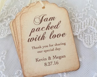 Jam Packed with Love Tags Jam Favor Labels Wedding Tags Personalized Set of 50