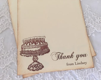 Birthday Thank You Cards Happy Birthday Cake Cards Set of 10