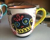 Black Sugar Skull & Hearts Jumbo Mug