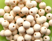 Unfinished Wooden Beads - 80 Pieces - 12mm Round Natural Wood / Light Wood Beads (WBD0082)