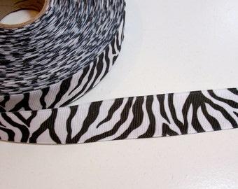 White Ribbon, White Tiger Stripe Grosgrain Ribbon 7/8 inch wide x 10 yards, Offray Animal Ribbon