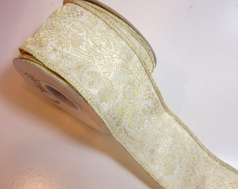 Gold Ribbon, Offray Fletch Wired Ribbon 2 1/4 inches wide x 10 yards, Metallic Gold Ribbon