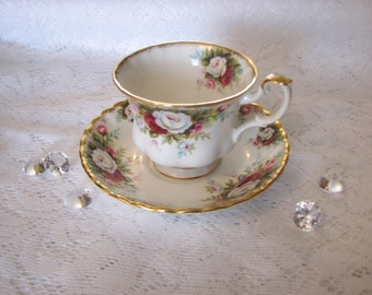 Royal Albert, Bone China, England,  Celebration Pattern, Cup and Saucer.