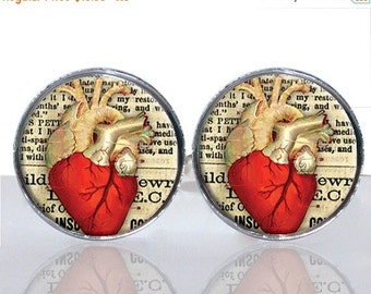 20% OFF - Anatomical Heart Round Glass Tile Cuff Links - CIR166