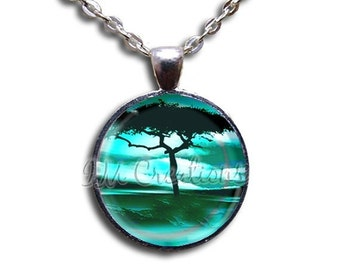 20% OFF - Tree at Dawn - Round Glass Dome Pendant or with Necklace by IMCreations - NT107