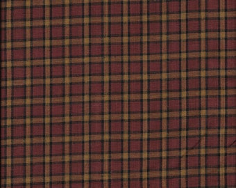 Cotton Homespun Material Wine, Black and Khaki Large Plaid 1 Yard