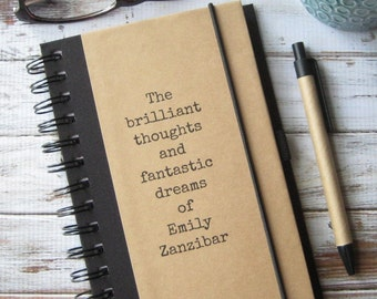 Personalized Journal, Notebook, Birthday Gift, Best Friend Gift, Personalized Gift, Brilliant Thoughts