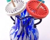 Drop Spindle - 3D Printed - Spiraled Spokes - Top Whorl