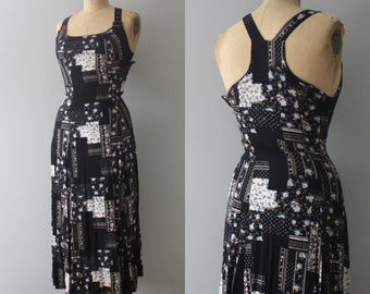 vintage. long black 1990s maxi floral quilt polka dot print printed dress. racer back. buckles. lbd. size small.