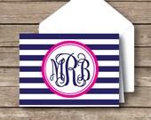 Monogrammed stationery,  vine monogram, striped preppy folded stationery, set of 12 with envelopes