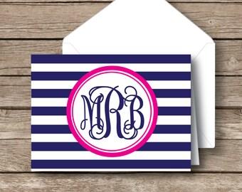 Monogrammed stationery,  vine monogram, striped preppy folded stationery, set of 10 with envelopes