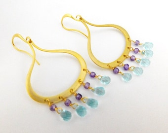 Aqua Earrings - Aquamarine Earrings - Gold Earrings - Purple Earrings