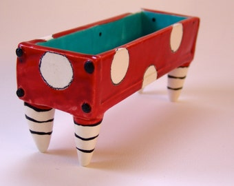 Whimsical pottery Butter Dish :) Dr Seuss red / turquoiae rectangle dish w/polka-dots, black & white striped legs
