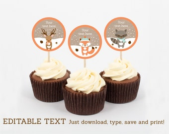 Winter Woodland Animals Cupcake Toppers / Winter Woodland Baby Shower / Winter Baby Shower / INSTANT DOWNLOAD Editable PDF A111