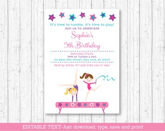 Gymnastics Birthday Invitation / Girl Gymnastics Birthday Invitation / Gymnastics Invite / Gymnastics Party / INSTANT DOWNLOAD Editable PDF