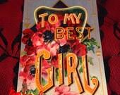 Vintage To My Best Girl Postcard